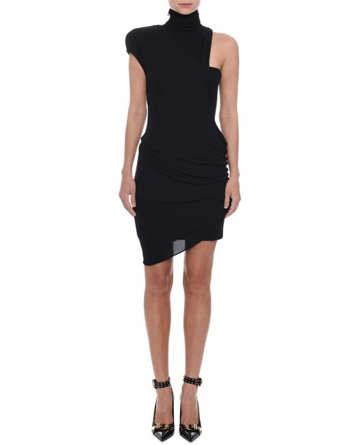 Versace - Black Sleeveless Turtleneck Fitted Asymmetric Cocktail Dress - Lyst