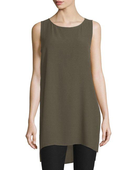 Eileen Fisher - Green Scoop-neck Silk Georgette Tunic - Lyst