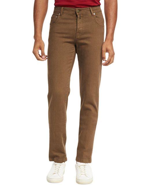 Brioni - Brown Five-pocket Stretch-cotton Pants for Men - Lyst