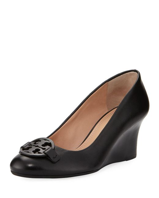 Tory Burch | Black Miller Smooth Leather 65mm Wedge Pump | Lyst