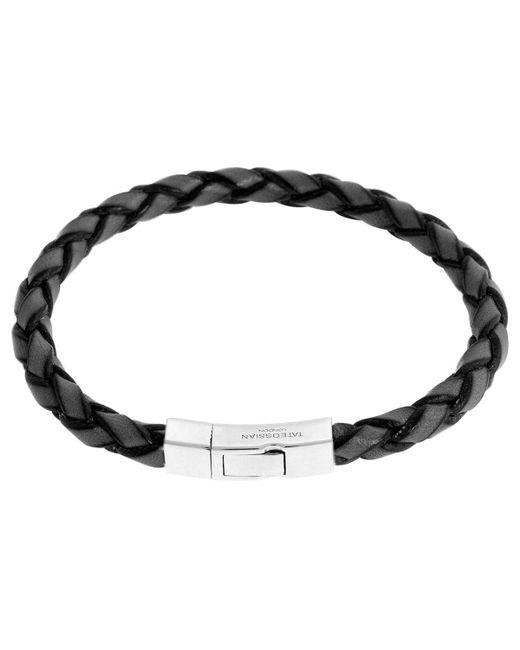 Tateossian - Black Men's Braided Leather Silver Bracelet – M - Lyst