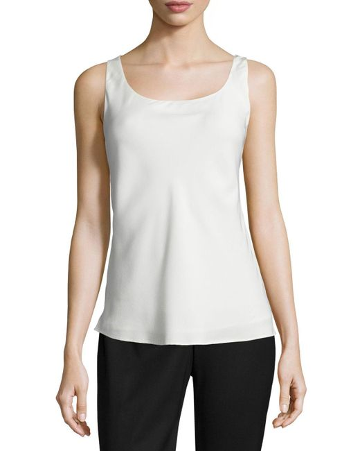 Lafayette 148 New York - Blue Charmeuse Silk Bias Tank - Lyst