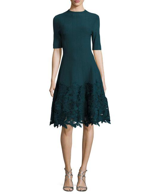 Lela Rose - Blue Ottoman Knit Dress With Lace Hem - Lyst