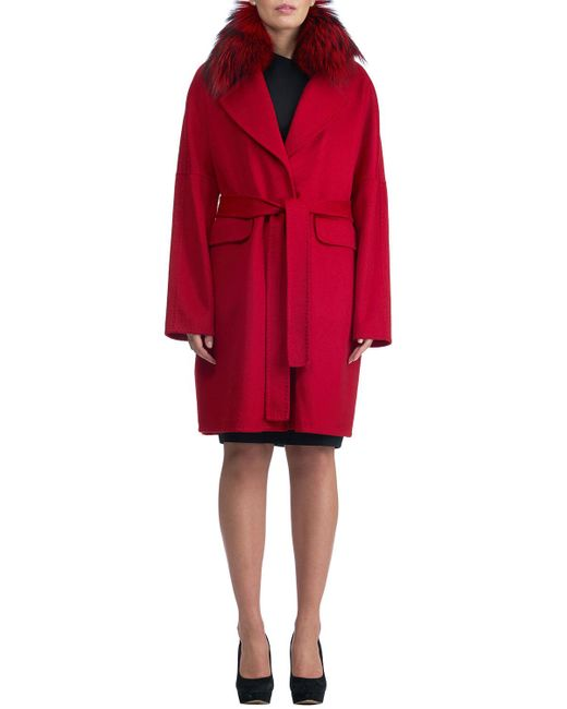 Gorski - Black Double-face Cashmere Short Coat W/ Fox Fur Collar - Lyst