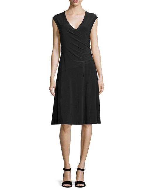 NIC+ZOE - Black Cap-sleeve Faux-wrap Dress - Lyst