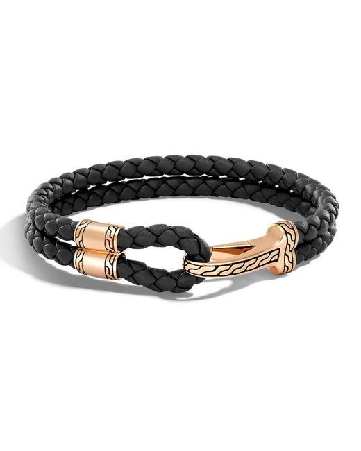 John Hardy - Black Men's Classic Chain Braided Leather Hook Station Bracelet for Men - Lyst