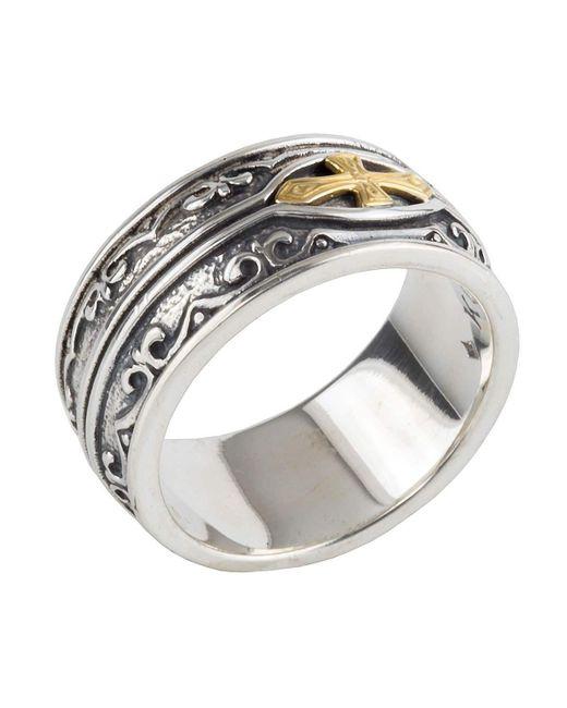 Konstantino | Metallic Men's Sterling Silver & 18k Gold Cross Ring for Men | Lyst