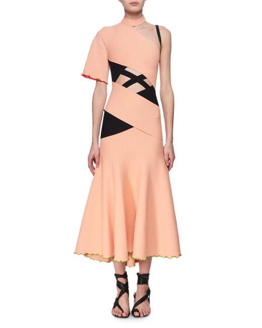 Proenza Schouler - Orange Exposed Bandage Asymmetric Midi Dress - Lyst