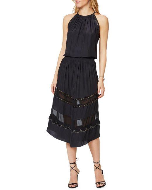 Ramy Brook Black Pierson Sleeveless Grommet Midi Dress