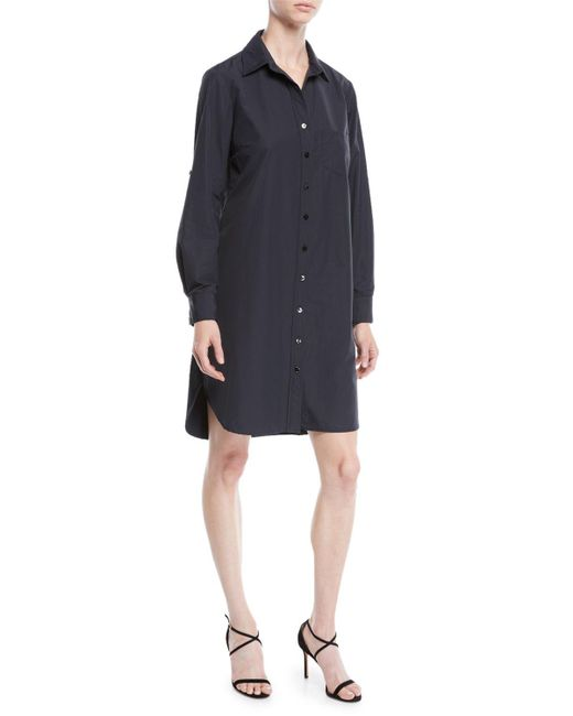 Finley - Black Alex Long-sleeve Button-front Shirtdress - Lyst