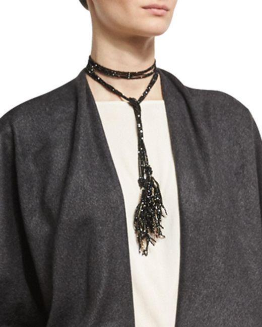 Brunello Cucinelli - Black Agate & Monili Beaded Tassel Lariat Necklace - Lyst