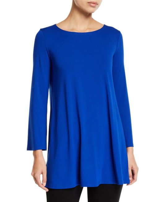 Eileen Fisher - Blue Wide-sleeve Ballet-neck Viscose Jersey Tunic - Lyst