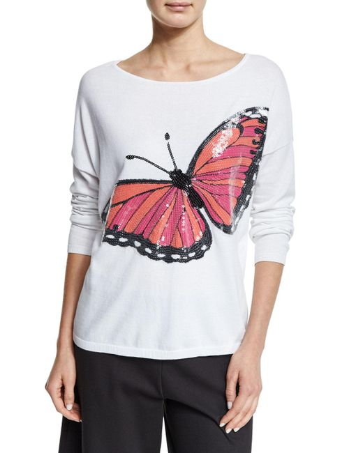Joan Vass   Multicolor Long-sleeve Sequined Butterfly Sweater   Lyst