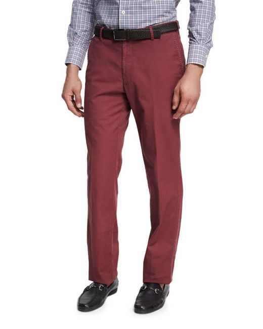 Peter Millar | Red Soft Touch Twill Pants for Men | Lyst