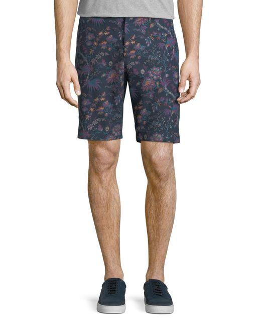 Etro - Blue Floral-print Bermuda Shorts for Men - Lyst