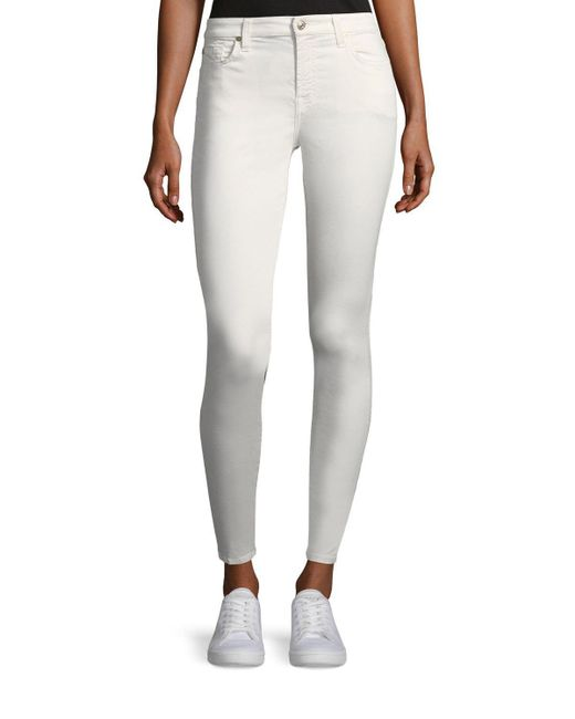 7 For All Mankind - White B(air) Mid-rise Ankle Skinny-leg Jeans - Lyst