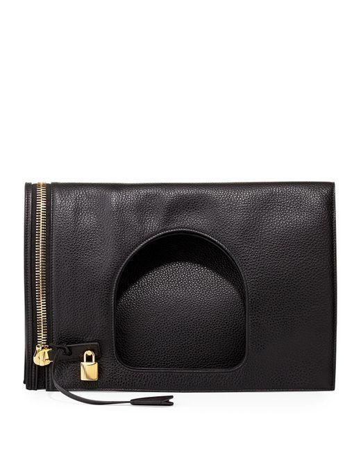 Tom Ford - Black Alix Leather Padlock & Zip Shoulder Bag - Lyst