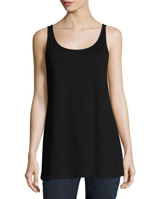 Eileen Fisher - Black Sleeveless Scoop-neck Lightweight Jersey Tank - Lyst