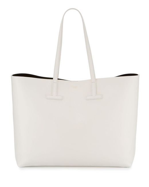 Tom Ford - White Large Grained Leather T Tote Bag - Lyst