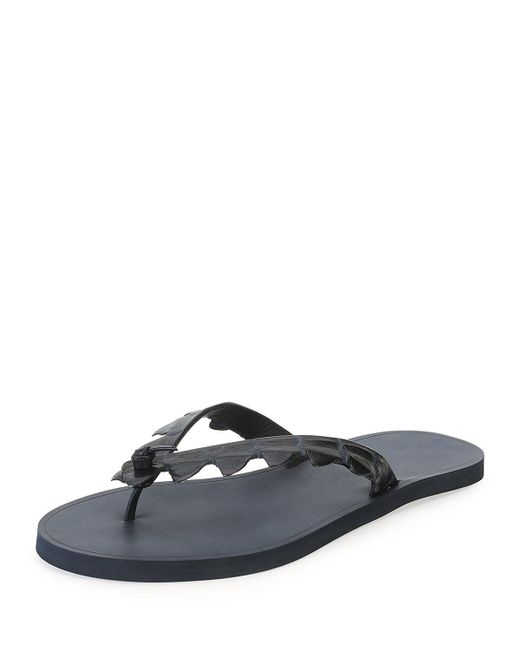 Bottega Veneta - Black Crocodile Flip-flop Sandal for Men - Lyst