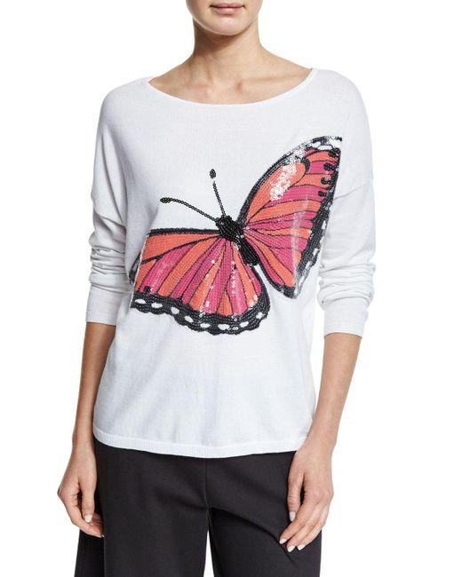 Joan Vass | Multicolor Long-sleeve Sequined Butterfly Sweater | Lyst