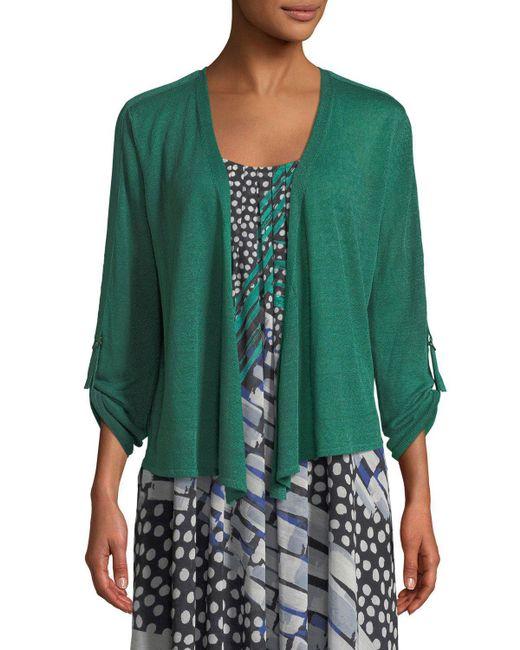 NIC+ZOE - Green Take Comfort Tab-sleeve Four-way Cardigan - Lyst
