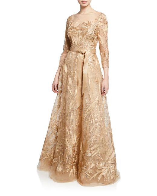 dd722b23c5e95 Teri Jon - Metallic Embroidered Lace & Sequin 3/4-sleeve Illusion Gown -