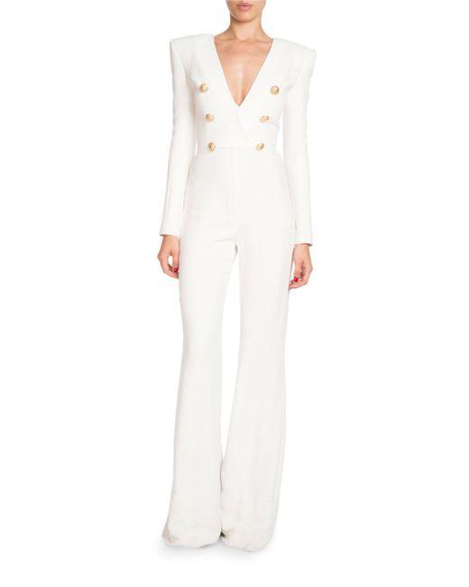 Balmain - White Deep-v Long-sleeve Six-button Flared-leg Crepe Jumpsuit - Lyst