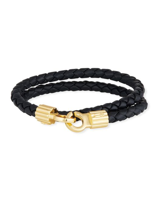 Brace Humanity - Men's Braided Napa Leather Bracelet Black/gold for Men - Lyst
