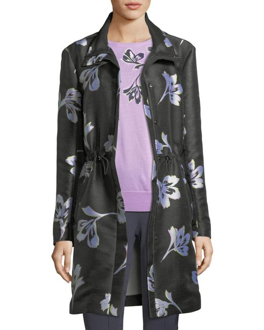 St. John - Multicolor Falling Flower-print Jacquard Coat - Lyst