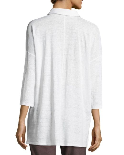 Eileen Fisher | White 3/4-sleeve Organic Linen Jersey Tunic | Lyst