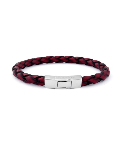 Tateossian - Red Men's Braided Leather Silver Bracelet for Men - Lyst