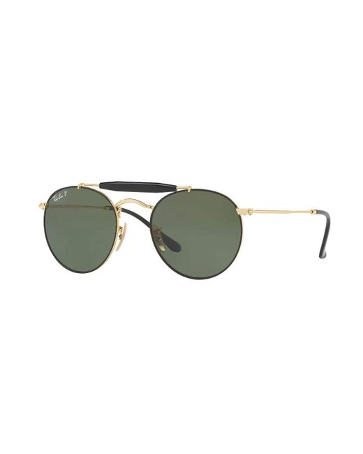 Ray-Ban   Green Contrast Brow-bar Round Universal Fit Sunglasses for Men   Lyst