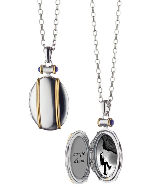 Monica Rich Kosann - Metallic Sterling Silver And 18k Yellow Gold Locket Necklace - Lyst