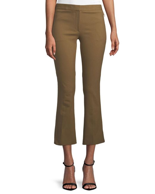 Theory - Brown Mid-rise Bi-stretch Kick-flare Cropped Pants - Lyst