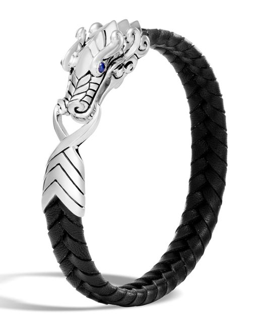 John Hardy - Men's Sterling Silver Legends Naga Bracelet With Braided Black Leather And Sapphire Eyes for Men - Lyst