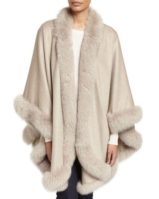 Sofia Cashmere - Multicolor Fox Fur-trimmed Cashmere U-cape - Lyst