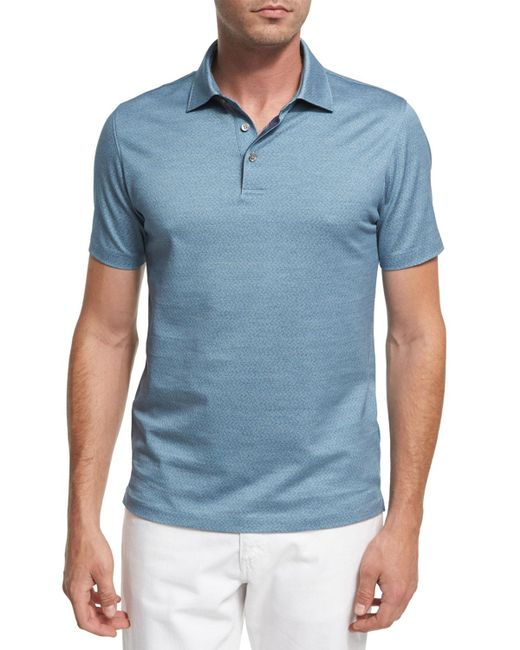 Ermenegildo Zegna - Blue Maze Chevron Cotton Polo Shirt for Men - Lyst