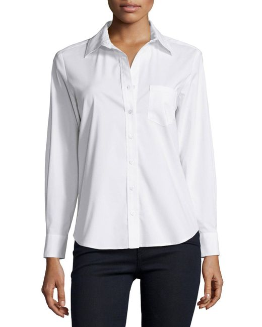 Finley - White Alex Button Front Blouse - Lyst