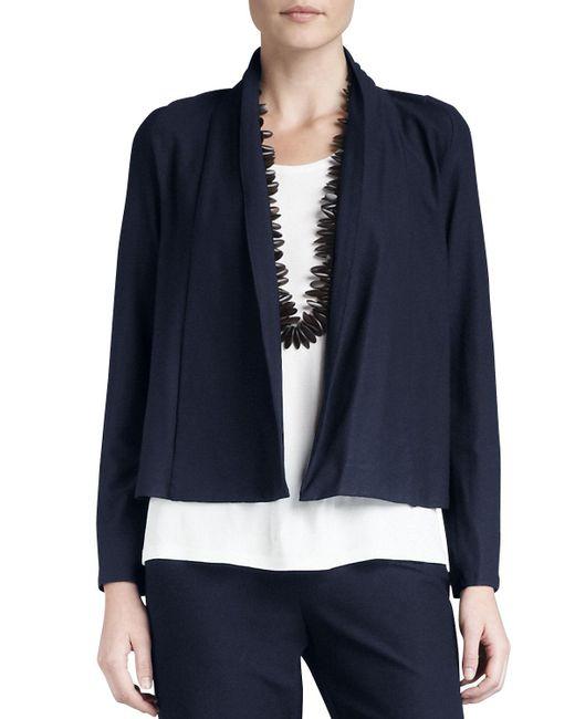 Eileen Fisher - Black Plus Size Washable-stretch Crepe Short Jacket - Lyst