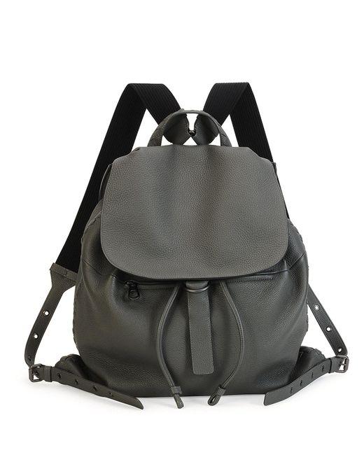 Bottega Veneta - Gray Black Woven Backpack - Lyst