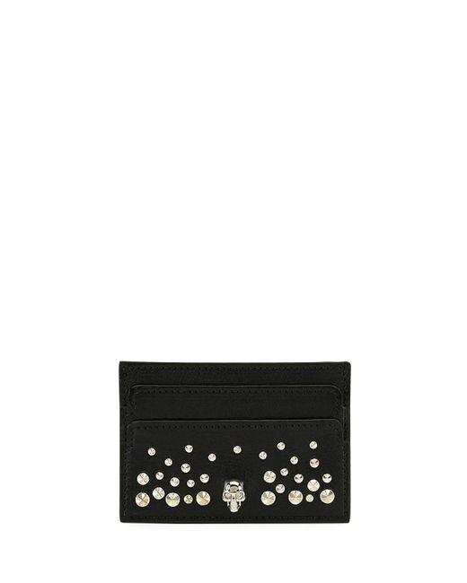 Alexander McQueen   Black Skull Card Holder In Studded   Lyst
