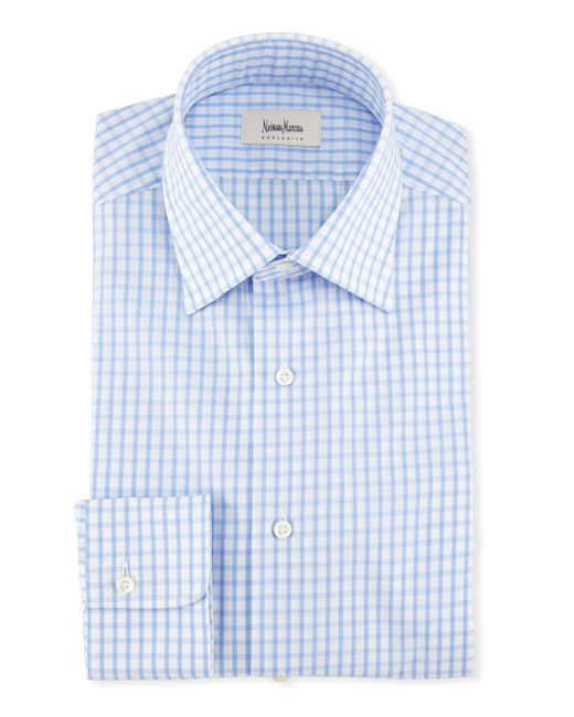 Neiman Marcus - Blue Large Check Dress Shirt for Men - Lyst