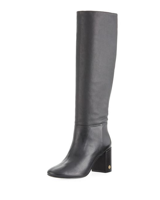 Tory Burch - Black Brooke Slouchy Leather Block-heel Knee Boots - Lyst