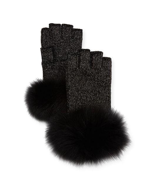 Sofia Cashmere - Purple Lurex® Knit Fingerless Gloves W/ Fur Cuffs - Lyst