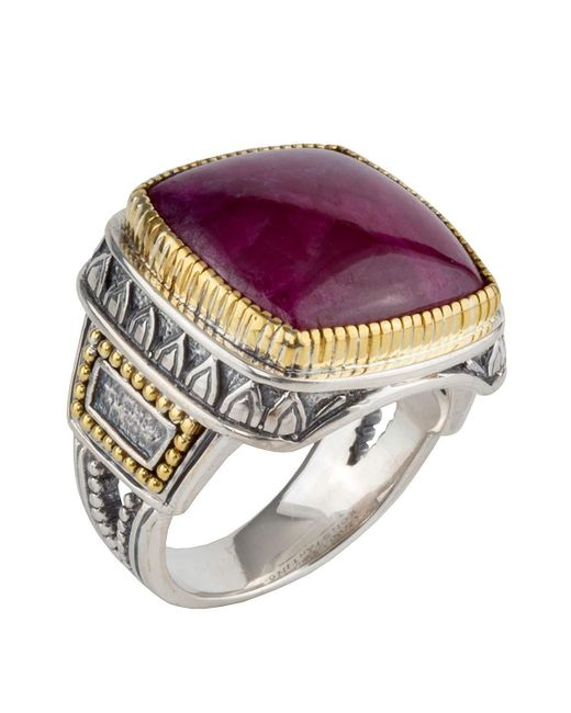 Konstantino | Metallic Men's Sterling Silver & 18k Gold Signet Ring With Ruby Root for Men | Lyst