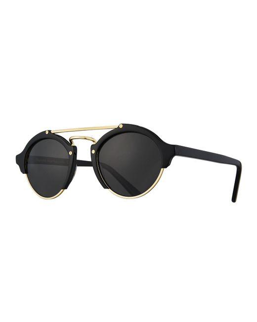 Illesteva - Black Milan Ii Semi-rimless Round Polarized Sunglasses - Lyst