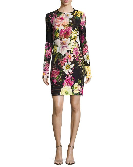 Naeem Khan | Black Long-sleeve Floral-print Dress | Lyst