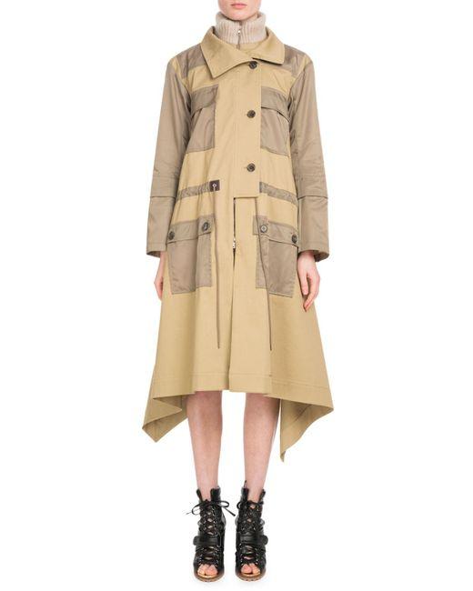 Chloé - Natural Zip-front Mid-calf Parka Coat W/ Nylon Patch Pockets - Lyst