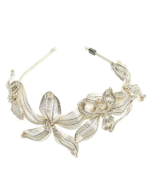Colette Malouf - Metallic Mesh Crystal Botanical Headband - Lyst